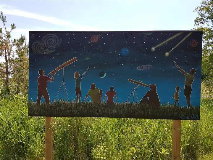 "Artist - Linda Rush  ""Gazing at the Heavens"" mural"