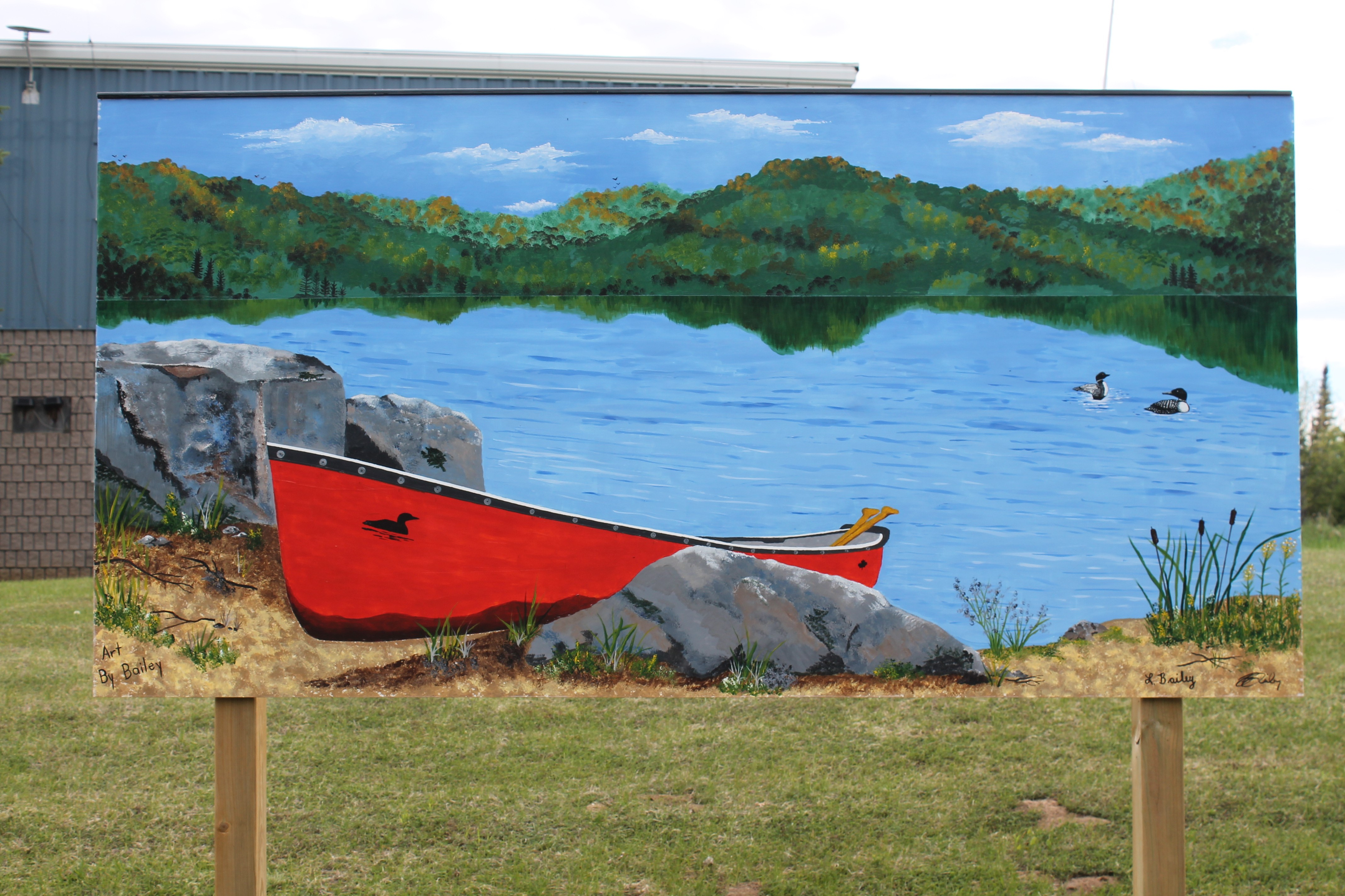 "Leanne and Brian Bailey's ""The Red Canoe"" mural"