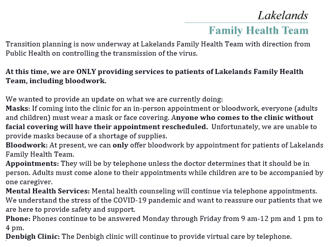 May 5, 2020 – Lakelands Family Health Team – Transition Planning